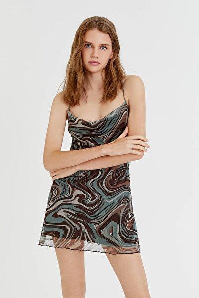 Pull & Bear Desenli Tül Mini Elbise