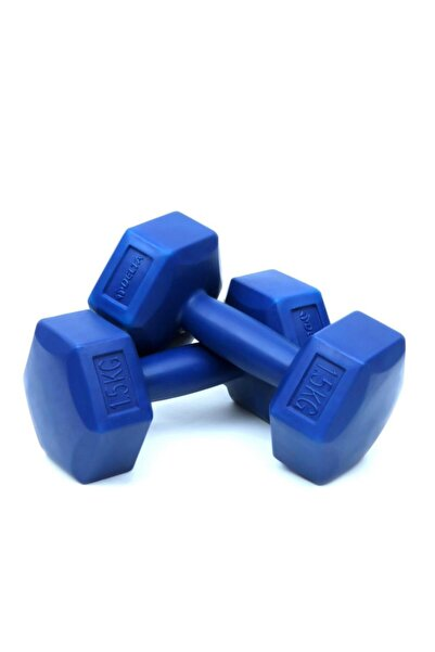 Delta 1,5 Kg x 2 Adet Köşeli Mavi Plastik Dambıl Ağırlık Seti