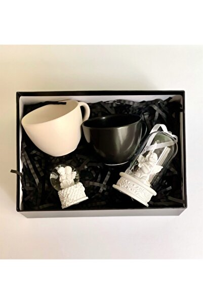 Gift Moda Işıklı Melek Kalp Biblo Mini Boy Melek Kar Küresi Ve 2'li Siyah Beyaz 6 Cm Kupa Set