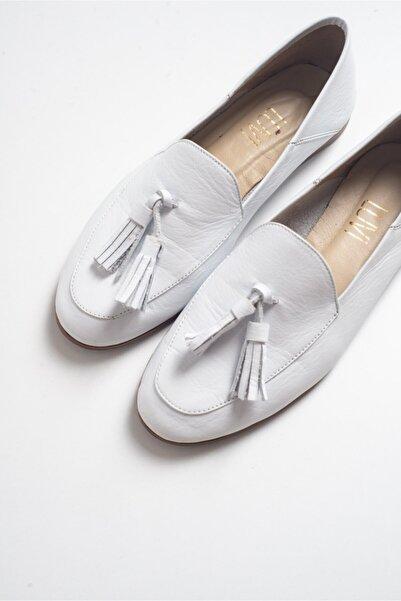 LuviShoes F04 Beyaz Cilt Hakiki Deri Ayakkabı