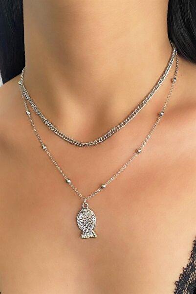 TAKIŞTIR Gümüş Renk Balık Figürlü Ikili Zincir Kolye