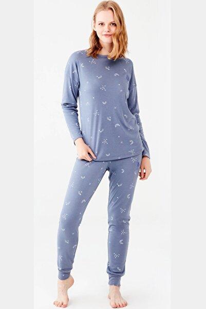 U.S. Polo Assn. %100 Pamuk Kadın Mavi Dar Paça Uzun Kol Pijama Takım
