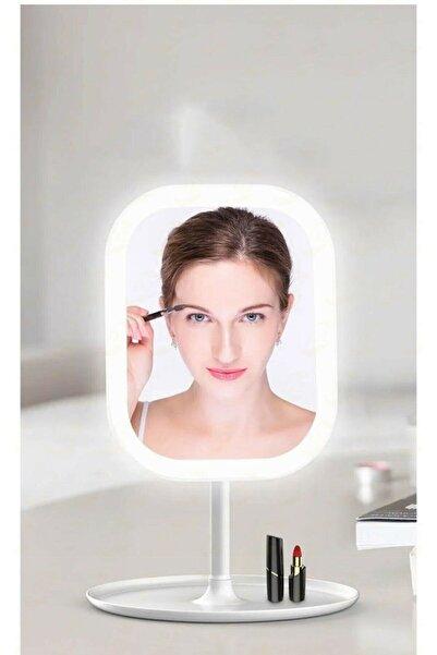 caddeoutlet 3 Renk Ledli Taşınabilir Masaüstü Şarjlı Işıklı Makyaj Aynası 90 Derece Açı Dikdörtgen Beyaz Ledli