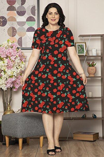 Osyoumoda Kadın Kırmızı Büyük Beden Desenli Günlük Likralı Viskon Elbise