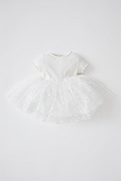 DeFacto Kız Bebek Basic Tüllü Kısa Kollu Elbise V5537A221SM