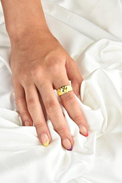 Fox Shoes Sarı Mineli Göz Detay Altın Yüzük Ka041052