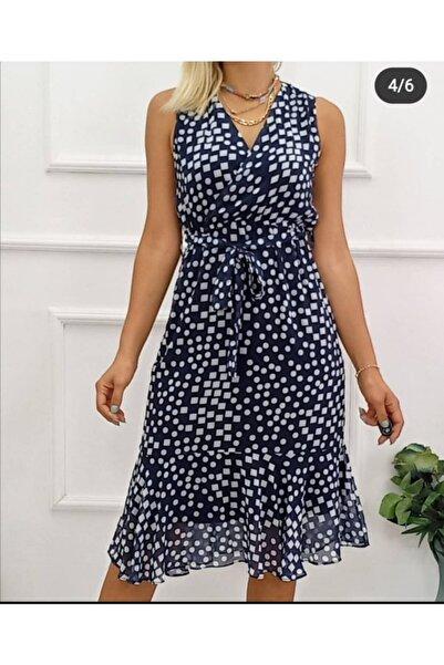 Sea Style Şifon, Astarlı, Kolsuz, V Yaka Elbise