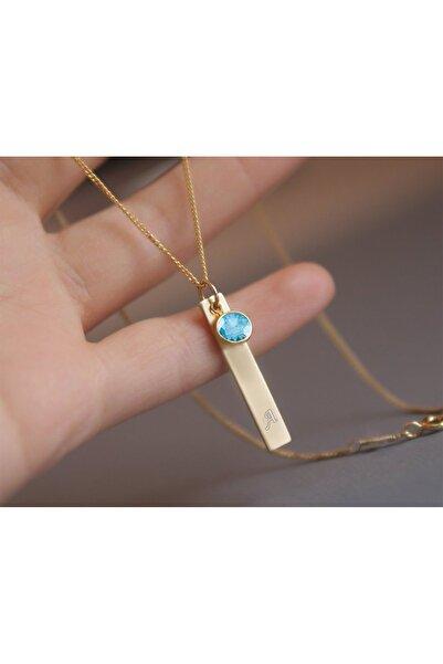 Papatya Silver 925 Ayar Gümüş Rose Kaplama Açık Mavi Taşı Plaka Harf Kolye