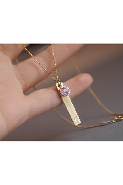Papatya Silver 925 Ayar Gümüş Rose Kaplama Lila Doğum Taşı Plaka Harf Kolye