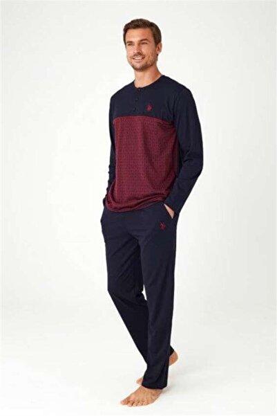 U.S. Polo Assn. %100 Pamuk Çeyize Uygun Bordo Erkek Pijama Takımı