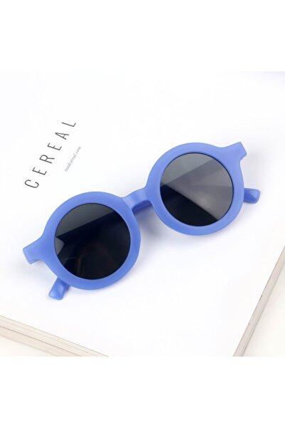 CAROTA Çocuk Güneş Gözlüğü Retro Opak Mavi Siyah Cam