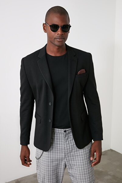 TRENDYOL MAN Siyah Erkek Dokulu Ceket TMNAW21CE0328