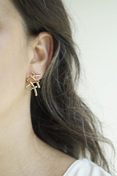 Marjin Kadın Metal Tasarım Altın Renkli KüpeAltın
