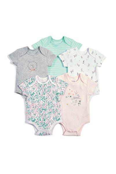 Mamas Papas Unisex Bebek Bej 5 Li Floral Bunny Bodysuıt