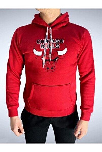 Erkek Kırmızı  Baskılı Pamuklu Kapüşonlu Sweatshirt