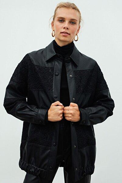 İpekyol Kadın Siyah Dantel Mixli Ceket IW6200005109