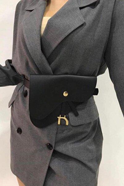 BAHELS Kadın Siyah Renk Lüx Model Kemerli Bel Çantası