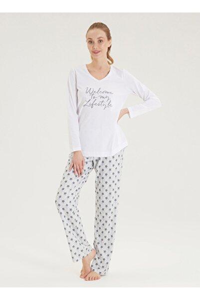 Blackspade Kadın Pijama Takımı 50439 - Beyaz