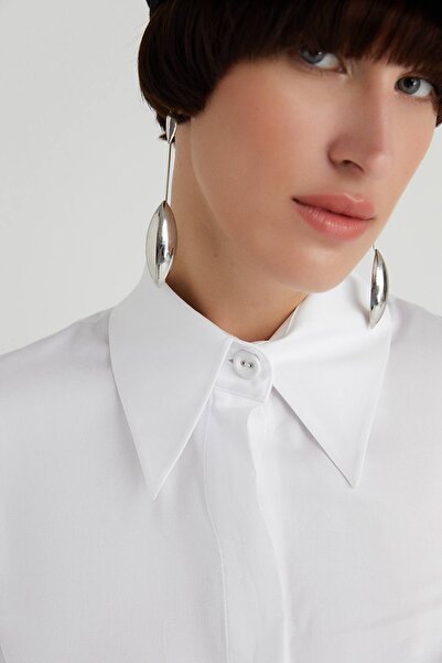 rue. Geniş Yaka Poplin Beyaz Gömlek