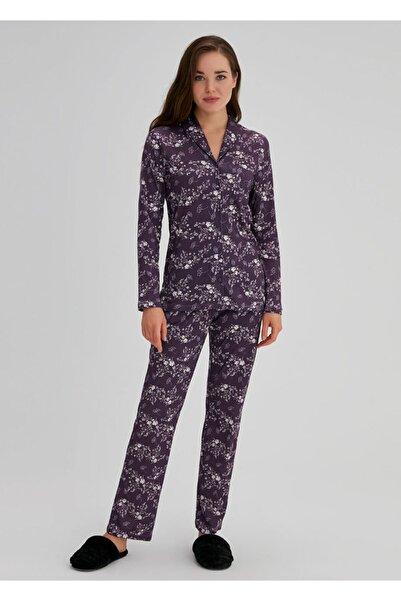 Dagi Kadın Mor Pamuklu Çiçekli Gömlek Uzun Kol Pijama Takımı