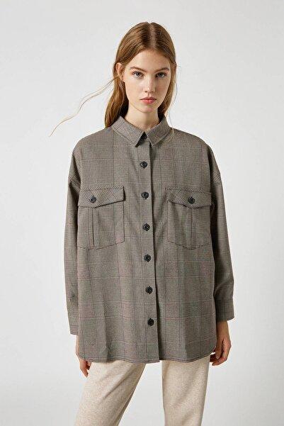 Pull & Bear Kadın Siyah Uzun Kollu Kareli Oversize Gömlek 09470341