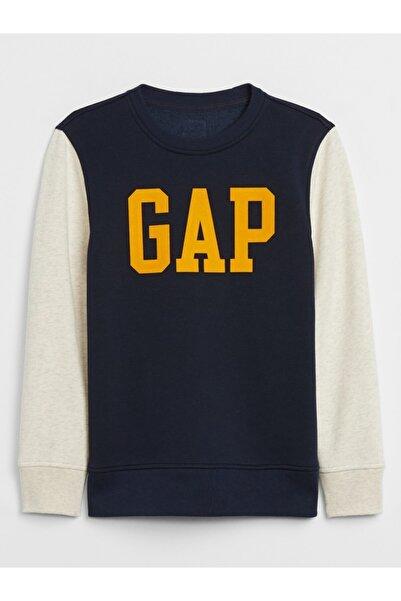 GAP Erkek Çocuk Lacivert Logo Yuvarlak Yaka Sweatshirt