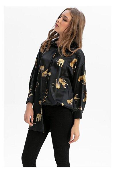 TIFFANY&TOMATO Kadın Siyah Desenli Uzun Gömlek