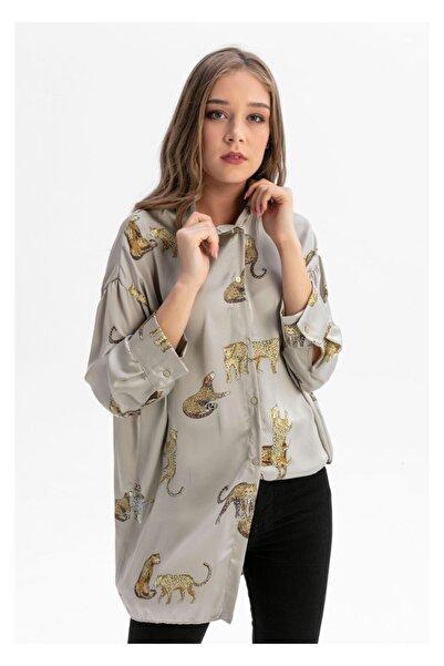 TIFFANY&TOMATO Kadın Kahverengi Desenli Uzun Gömlek