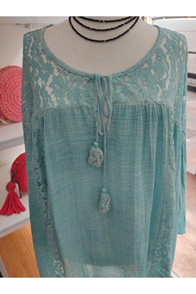 Apex Kadın Yeşil Çiçekli Bluz