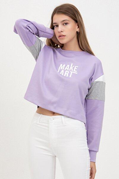 Mossta Kadın Lila Make Art Baskılı Sweatshirt