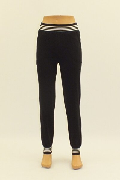 Otto Kız Çocuk Siyah Iki Iplik Pamuklu Bel Ve Paça Lastikli Spor Pantolon 0857
