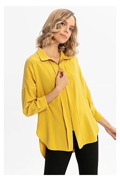 TIFFANY&TOMATO Kadın Sarı Fermuarlı Cupra Gömlek