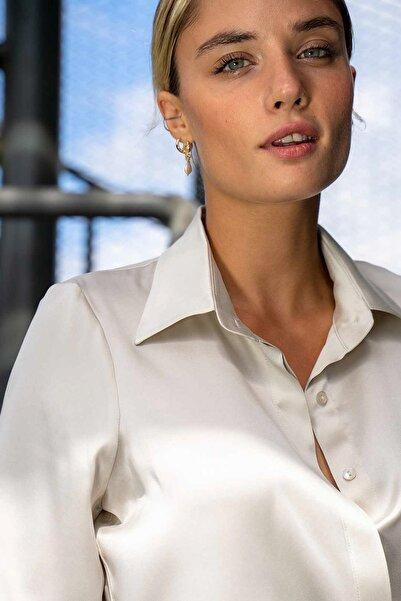 Silk and Cashmere Kadın Gri Ipek Audrey Geniş Manşet Uzun Kollu Gömlek