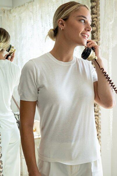 Silk and Cashmere Kadın Beyaz İpek Karışımlı Belinda Yuvarlak Yaka Triko B202F358001