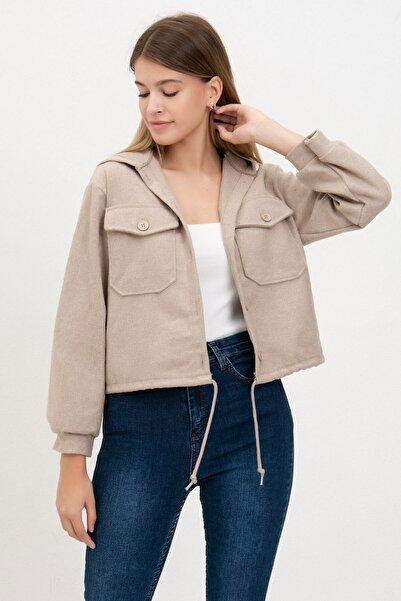 Mossta Kadın Bej Bel Büzgülü Kaşe Ceket