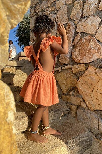 Eclectic Çocuk Fırfırlı Elbise Turuncu Keten