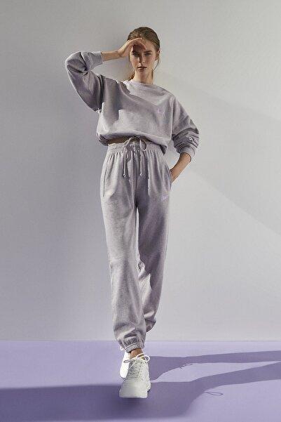 Pull & Bear Kadın Melanj Leylak Stwd İşlemeli Jogging Fit Pantolon 09678348