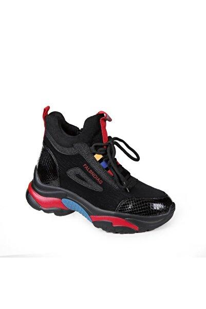 Guja 20k385 Siyah Kalın Taban Fermuarlı Spor Ayakkabı