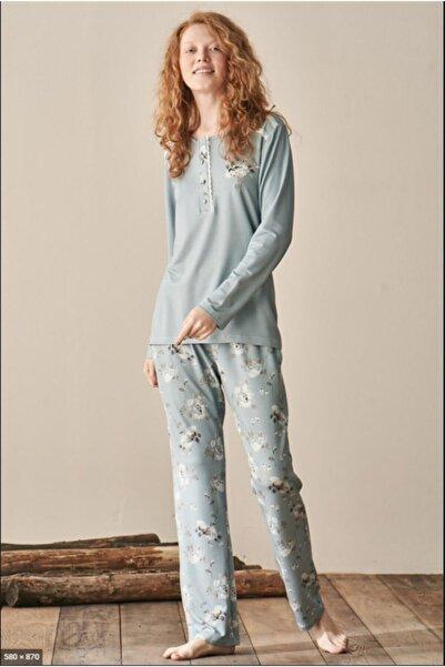 Feyza Pijama Kadın Mavi Pijama Takımı