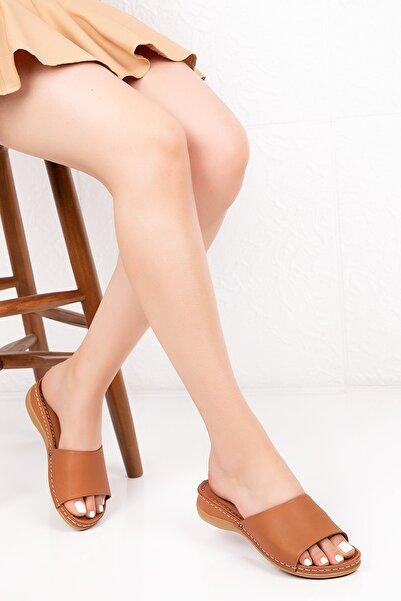 Gondol Kadın Kahverengi Hakiki Deri Ortopedik Taban Terlik