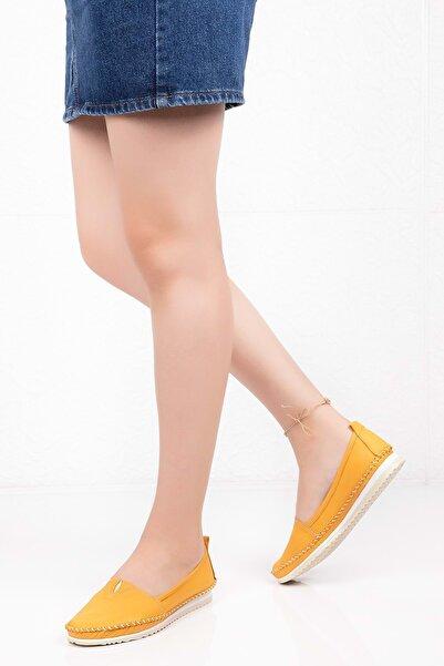 Gondol Kadın Sarı Hakiki Deri Anatomik Taban Günlük Ayakkabı 38 Grs.20