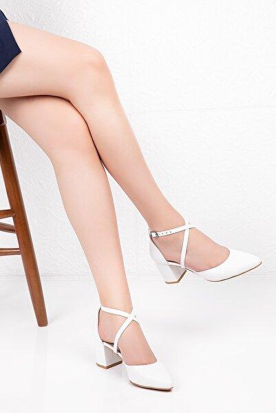 Gondol Kadın Beyaz Hakiki Deri Çapraz Bant Detay Topuklu Ayakkabı