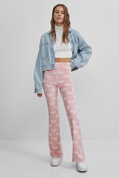 Bershka Kadın Pembe Babe Desenli Pantolon