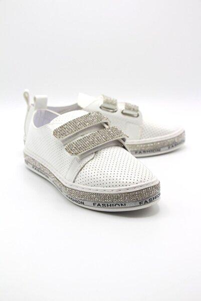 Markopark Kadın Beyaz Taşlı Spor Ayakkabı 1002