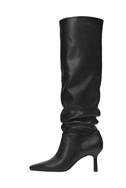 Stradivarius Kadın Siyah Topuklu Rahat Çizme 19859670