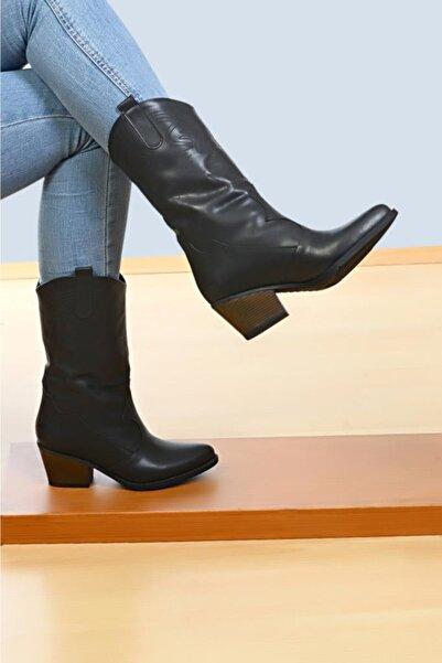 ROYJONES Kadın Siyah Bot Çizme Modelleri Kovboy Bot 100