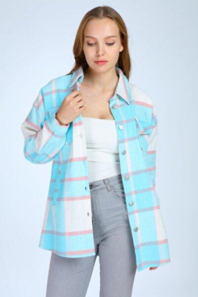 night blue Sonbahar Kış Ekose Ceket