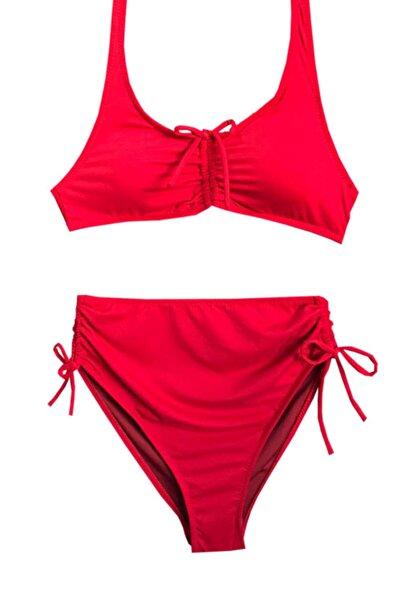 Nilmay mayo Kadın Kırmızı Yüksek Bel Bikini Takımı
