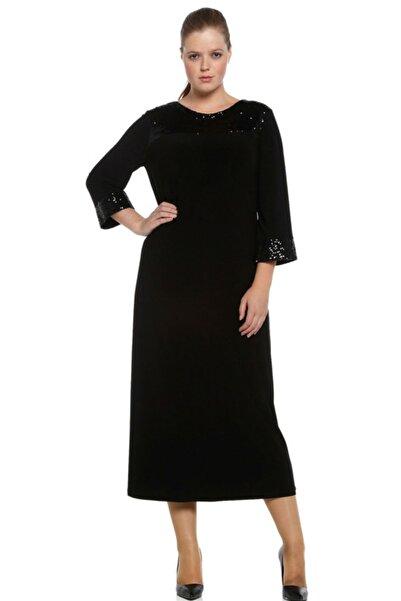 Nidya Moda Büyük Beden Siyah Roba Manşet Pullu Payet Abiye Elbise-4056s