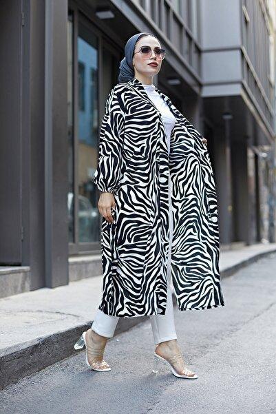 Elifnur Kadın Siyah Desenli Kimono